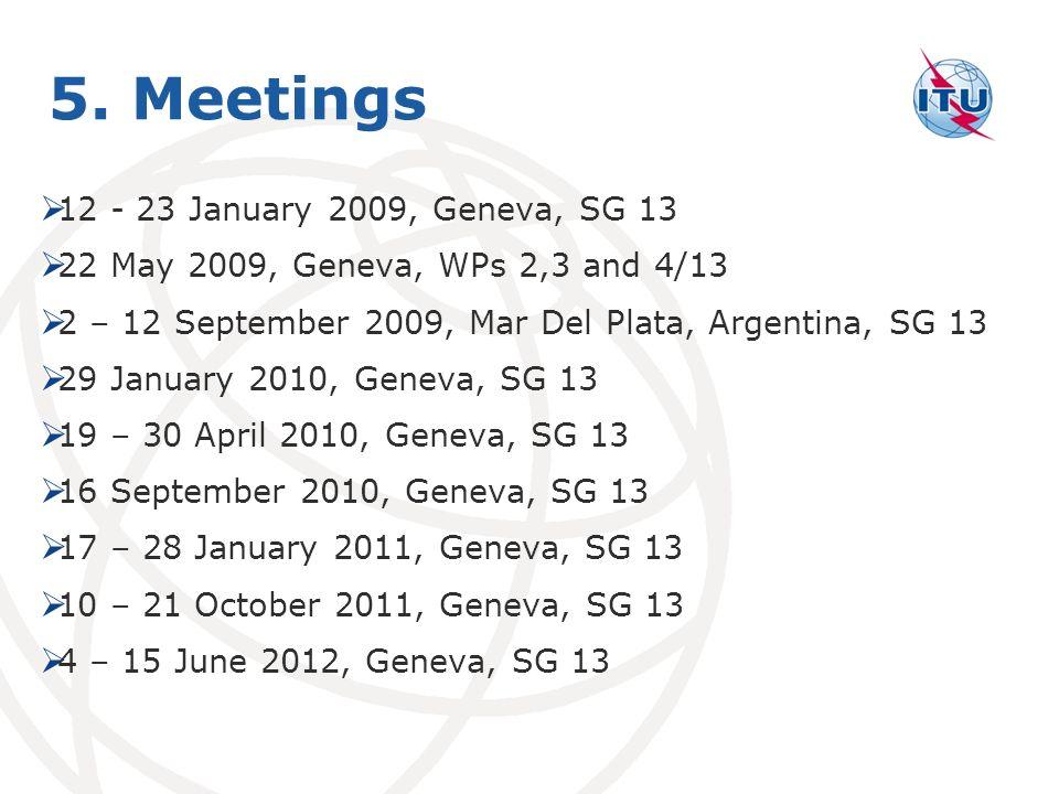 5. Meetings 12 - 23 January 2009, Geneva, SG 13