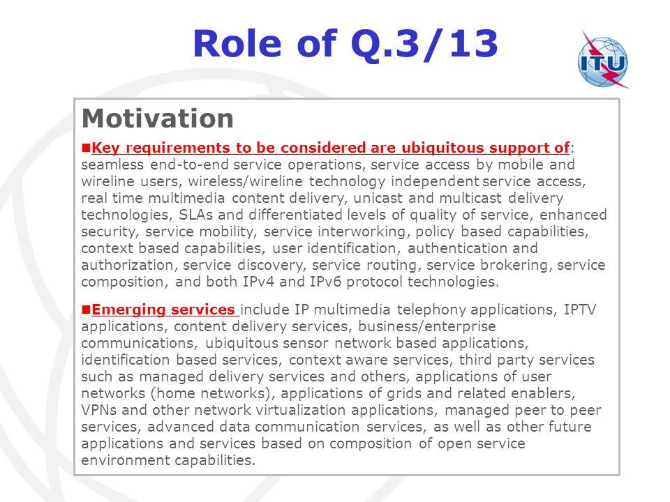 Role of Q.3/13 Motivation.