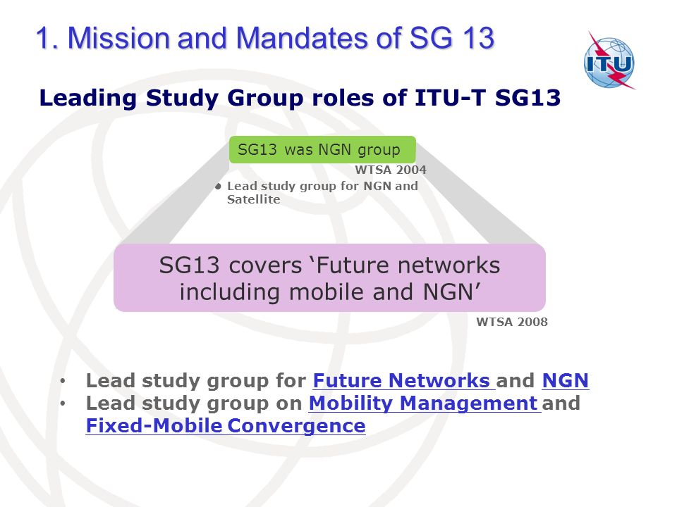 Leading Study Group roles of ITU-T SG13