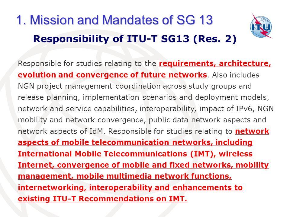 Responsibility of ITU-T SG13 (Res. 2)