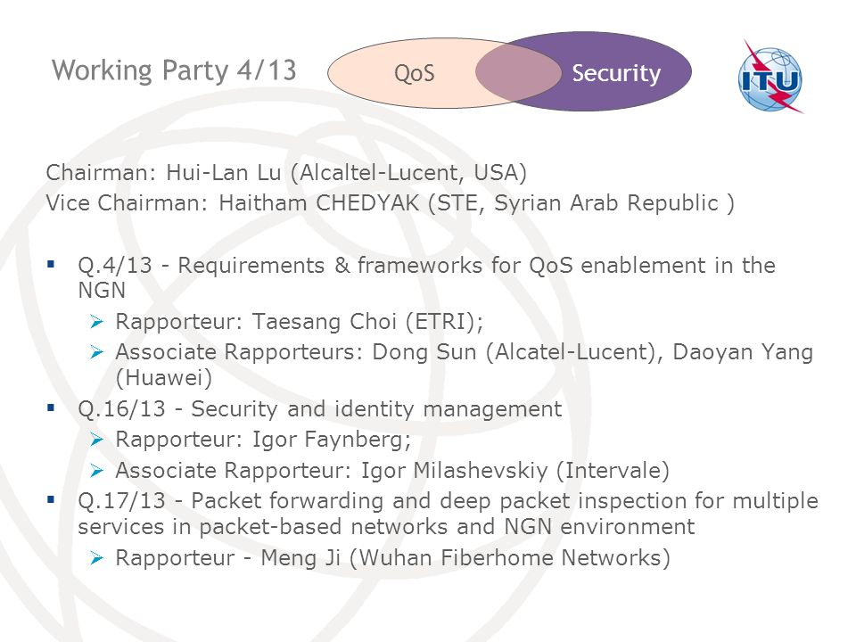 Working Party 4/13 QoS Security
