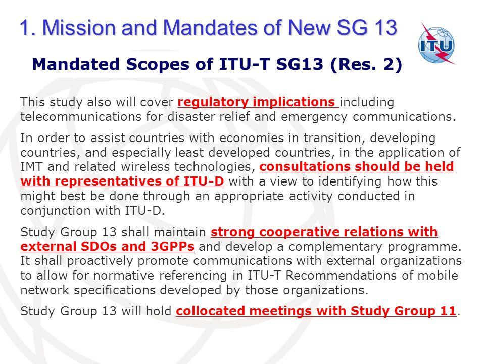 Mandated Scopes of ITU-T SG13 (Res. 2)