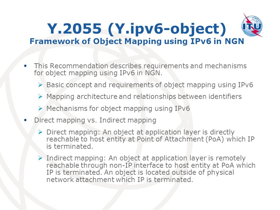 Y.2055 (Y.ipv6-object) Framework of Object Mapping using IPv6 in NGN