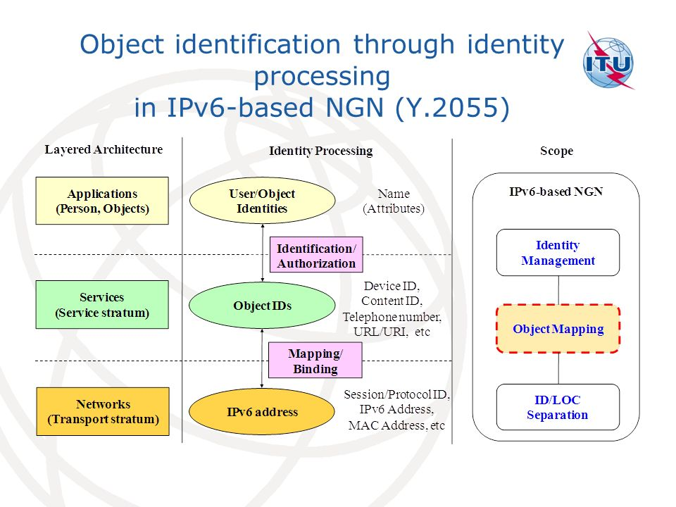 Object identification through identity processing in IPv6-based NGN (Y