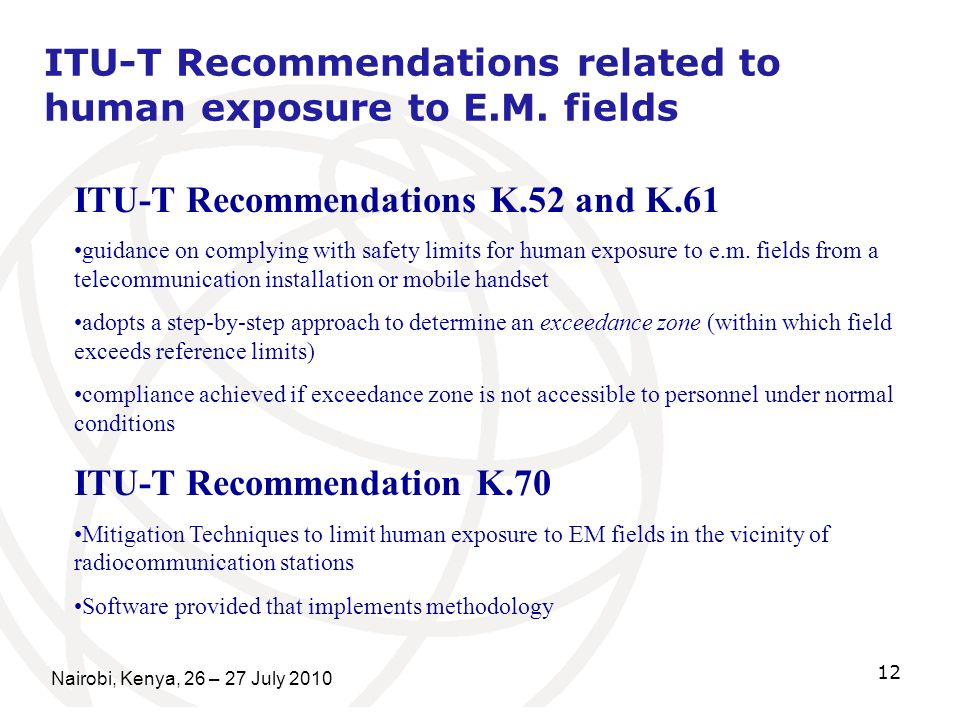 ITU-T Recommendations related to human exposure to E.M. fields