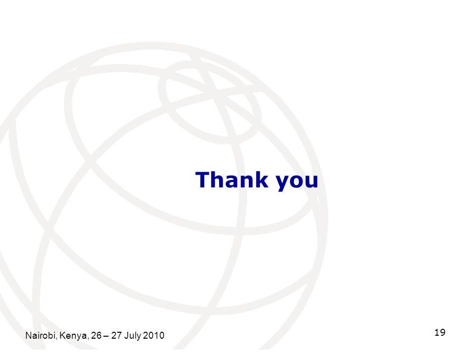 Thank you Nairobi, Kenya, 26 – 27 July 2010