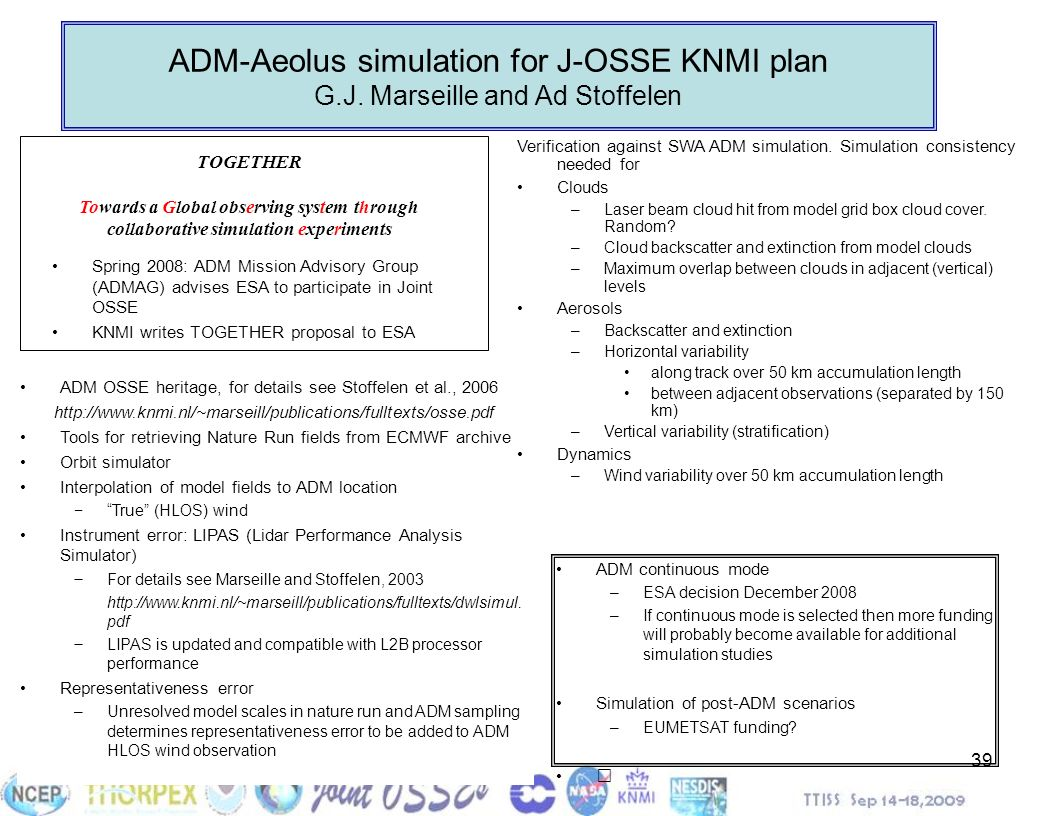 ADM-Aeolus simulation for J-OSSE KNMI plan G. J