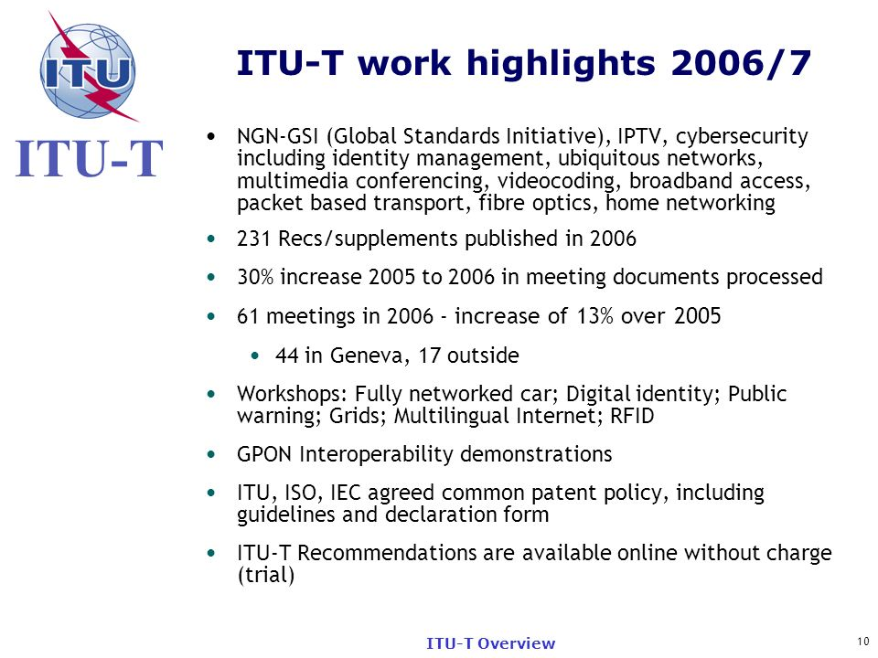 ITU-T work highlights 2006/7