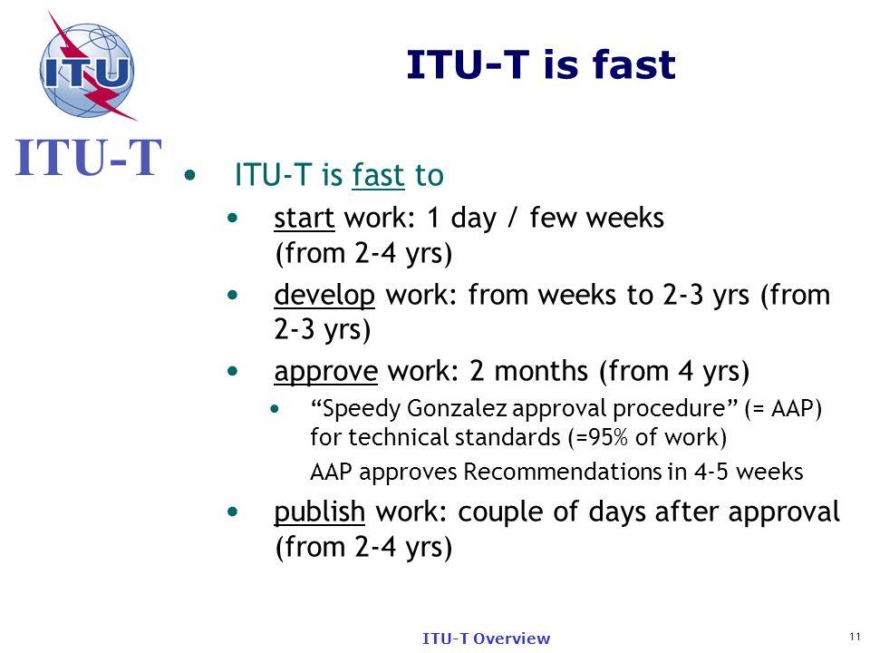 ITU-T is fast ITU-T is fast to