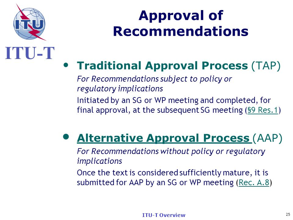 Approval of Recommendations