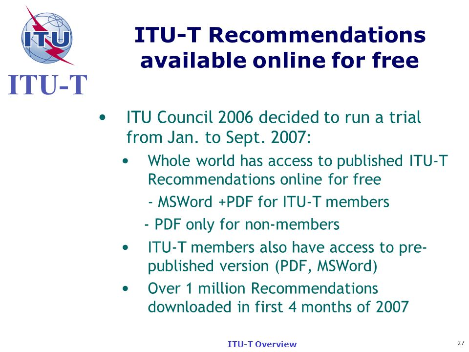 ITU-T Recommendations available online for free