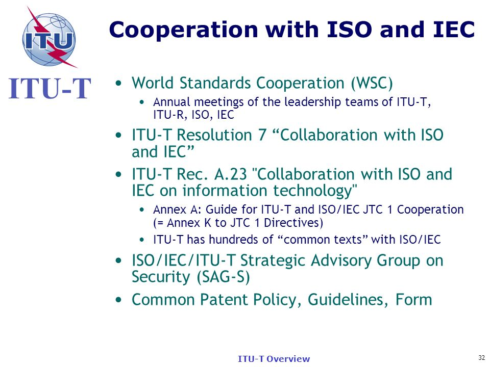 Cooperation with ISO and IEC