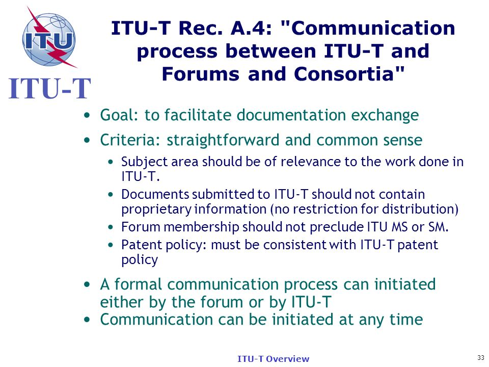 ITU-T Rec. A.4: Communication process between ITU-T and Forums and Consortia