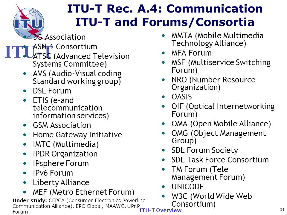 ITU-T Rec. A.4: Communication ITU-T and Forums/Consortia