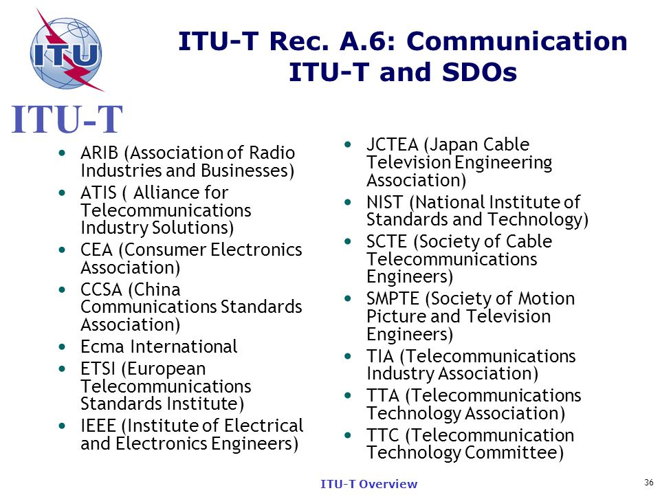 ITU-T Rec. A.6: Communication ITU-T and SDOs