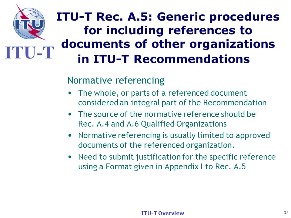 ITU-T Rec. A.5: Generic procedures for including references to documents of other organizations in ITU-T Recommendations
