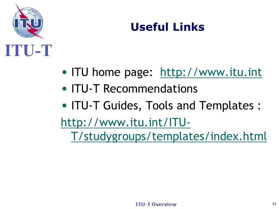ITU home page: http://www.itu.int ITU-T Recommendations