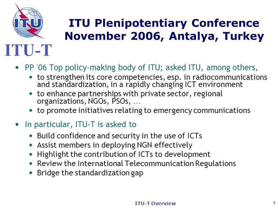 ITU Plenipotentiary Conference November 2006, Antalya, Turkey