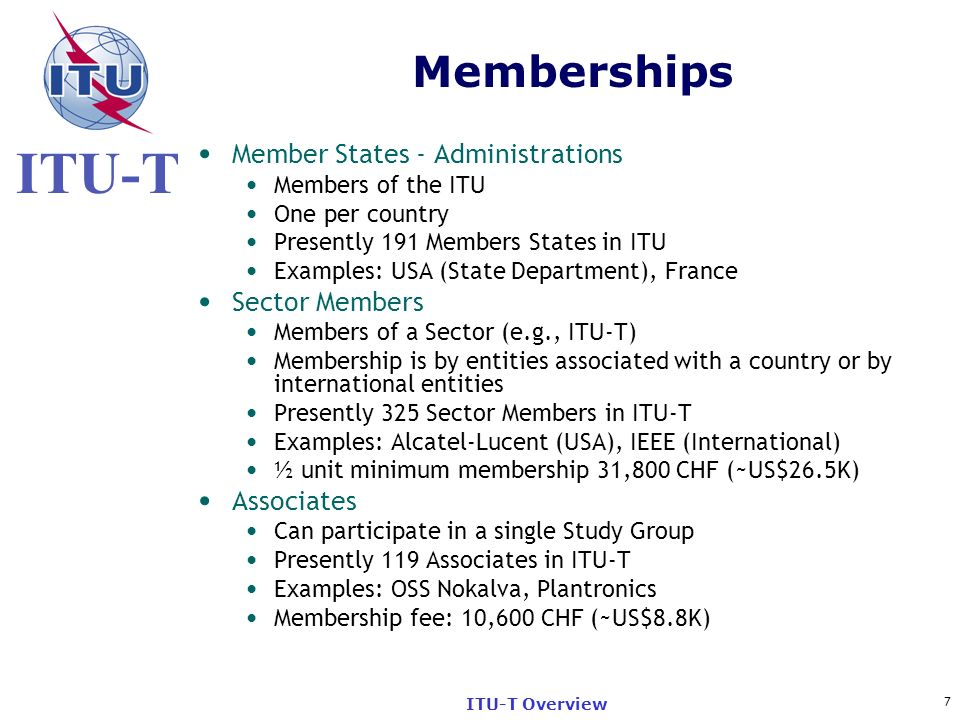 Memberships Member States - Administrations Sector Members Associates