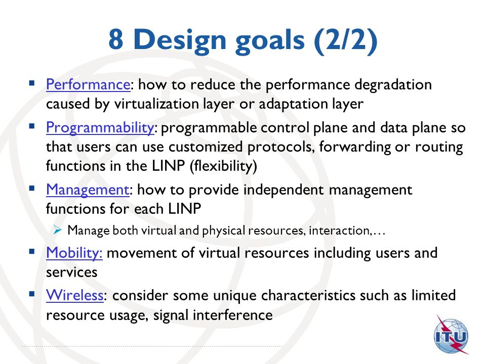 8 Design goals (2/2) Performance: how to reduce the performance degradation caused by virtualization layer or adaptation layer.
