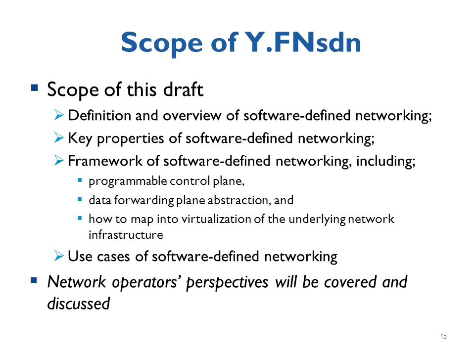 Scope of Y.FNsdn Scope of this draft