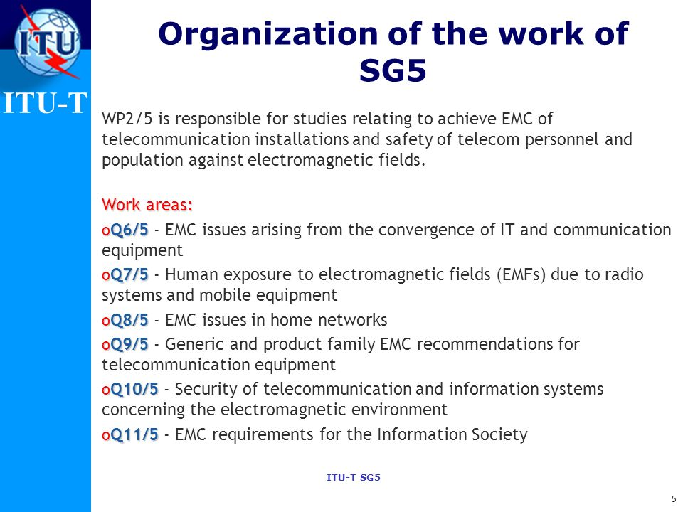 Organization of the work of SG5