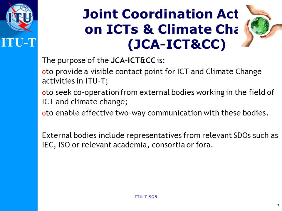 Joint Coordination Activity on ICTs & Climate Change (JCA-ICT&CC)