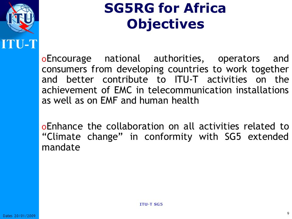 SG5RG for Africa Objectives
