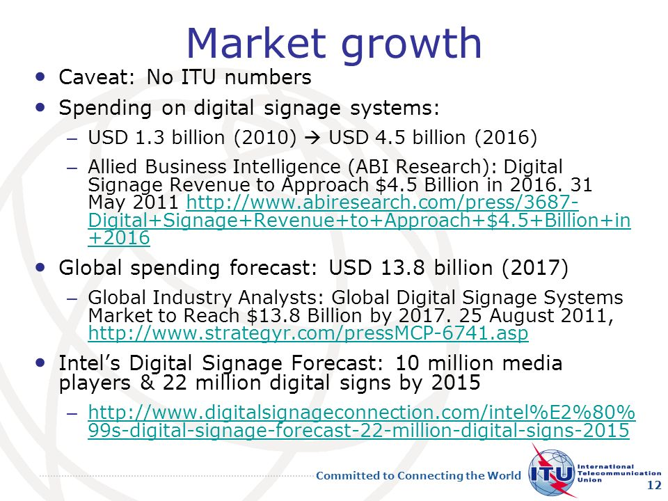Market growth Caveat: No ITU numbers