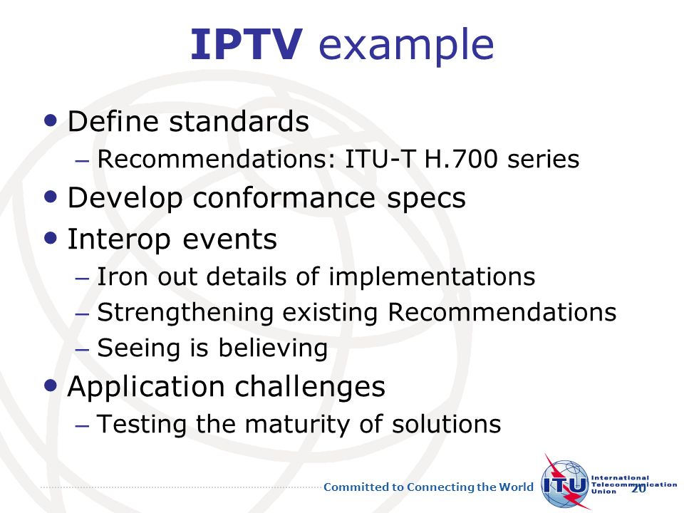 IPTV example Define standards Develop conformance specs Interop events