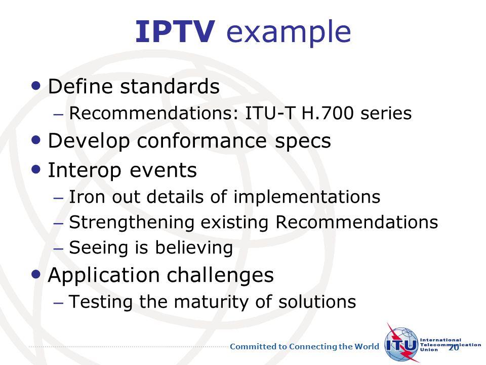 IPTV example Define standards Develop conformance specs Interop events