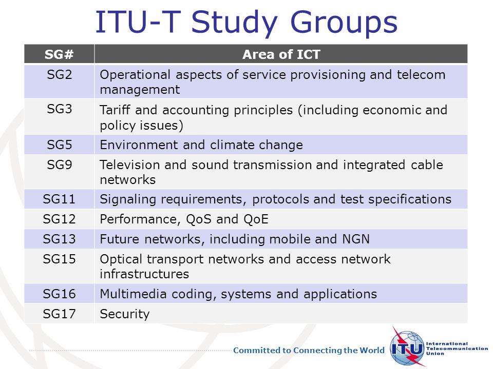 ITU-T Study Groups SG# Area of ICT SG2