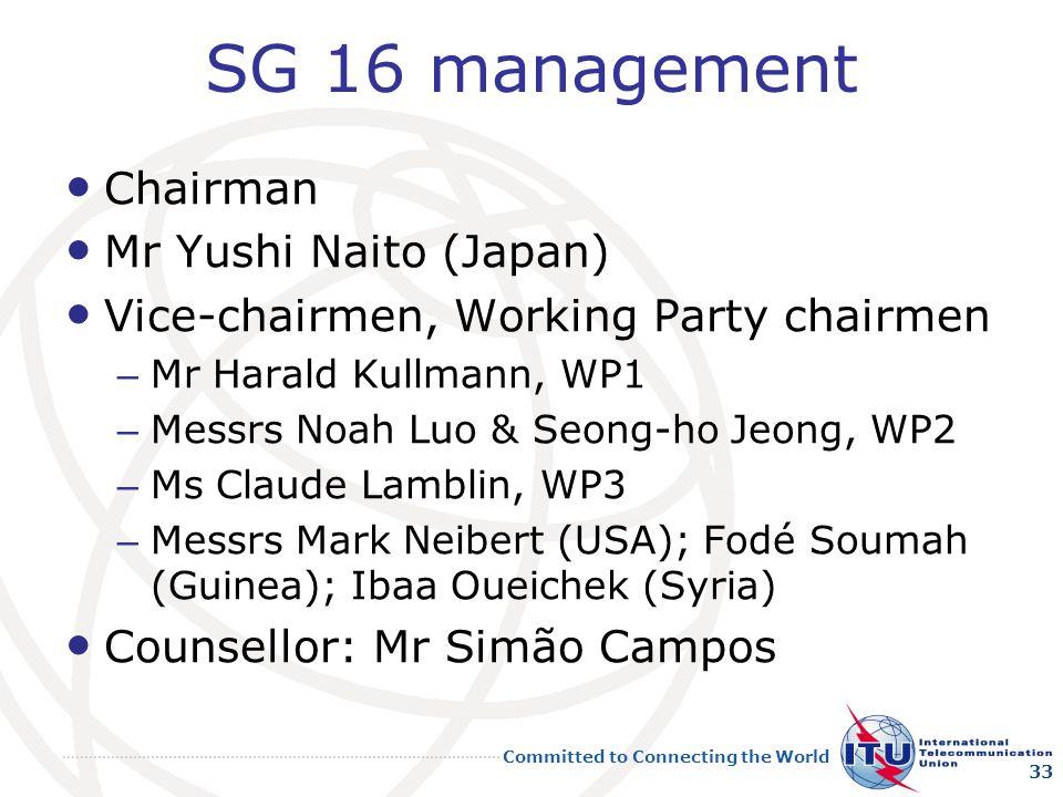 SG 16 management Chairman Mr Yushi Naito (Japan)