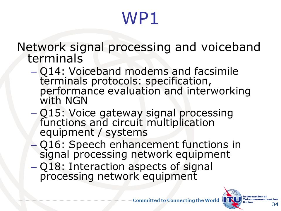 WP1 Network signal processing and voiceband terminals