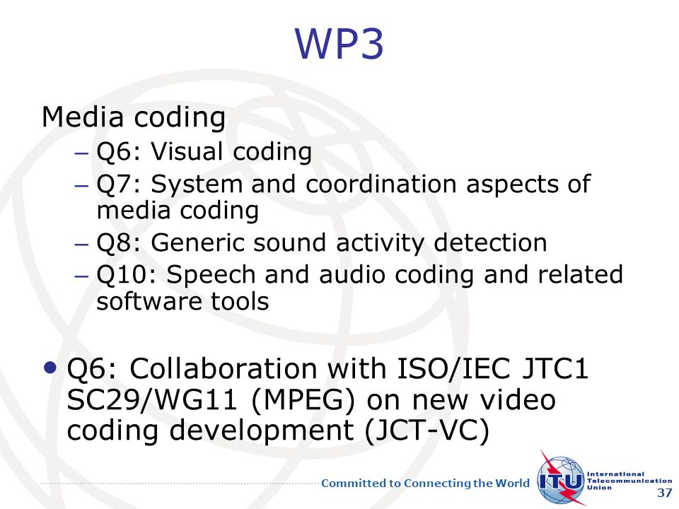 WP3 Media coding. Q6: Visual coding. Q7: System and coordination aspects of media coding. Q8: Generic sound activity detection.
