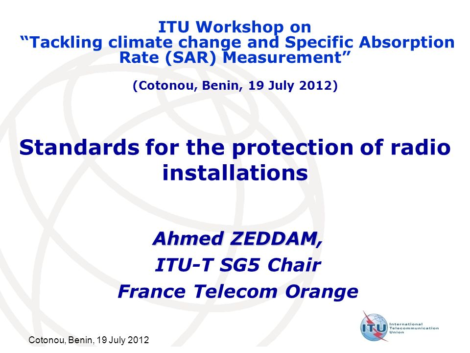 Standards for the protection of radio installations