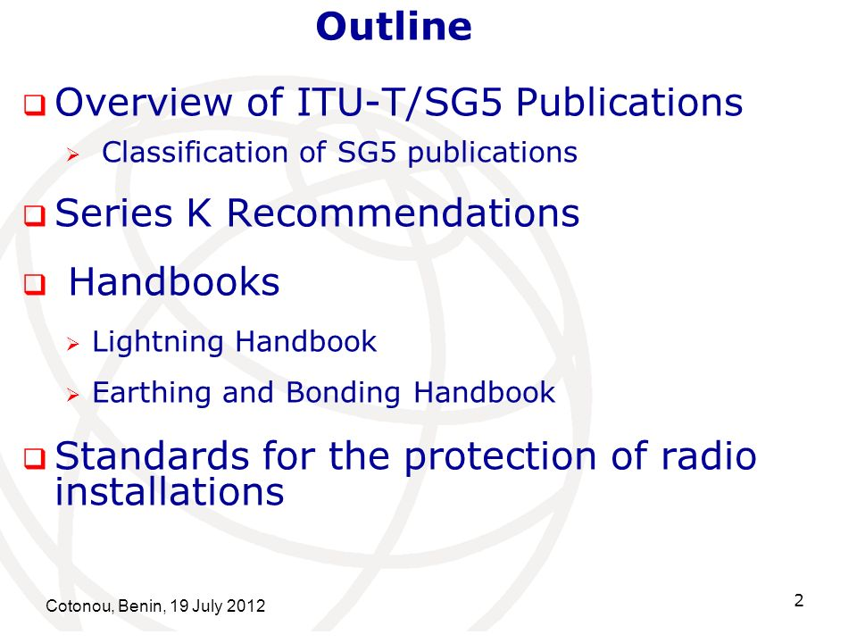 Overview of ITU-T/SG5 Publications Series K Recommendations Handbooks