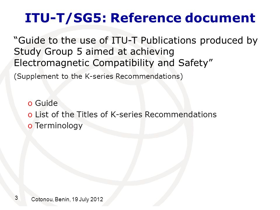 ITU-T/SG5: Reference document
