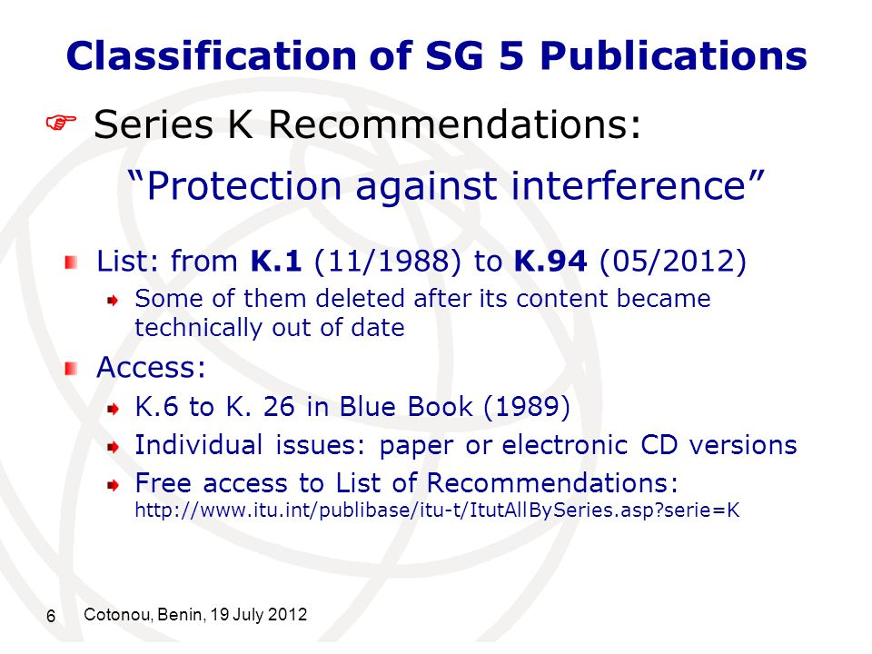 Classification of SG 5 Publications