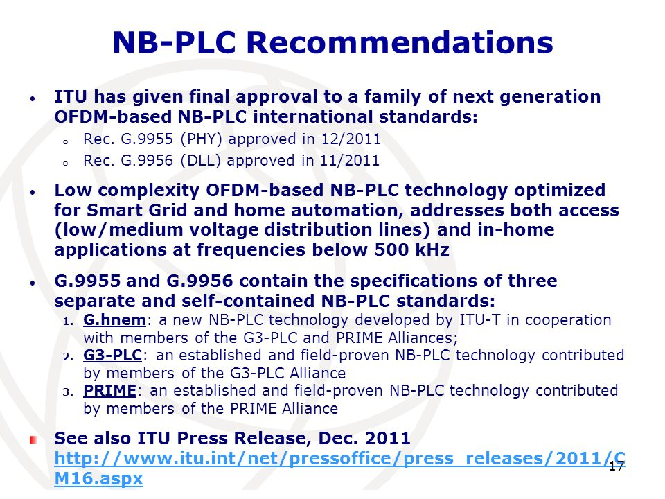 NB-PLC Recommendations
