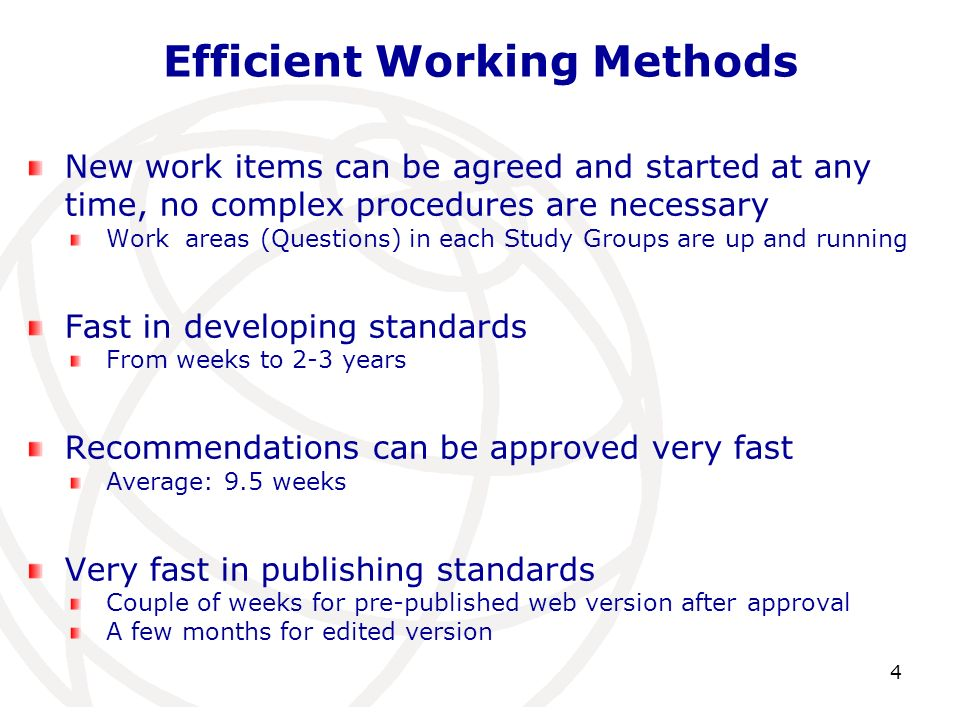 Efficient Working Methods