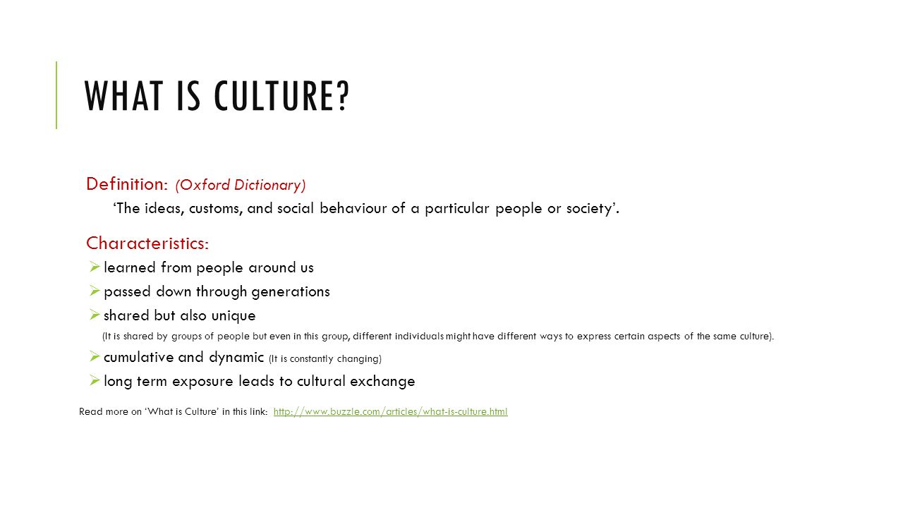 the different aspects of culture Different types of culture that it is a positive force because it brings people of different backgrounds together in a common culture.