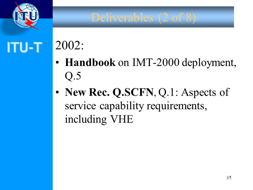 Deliverables (2 of 8) 2002: Handbook on IMT-2000 deployment, Q.5