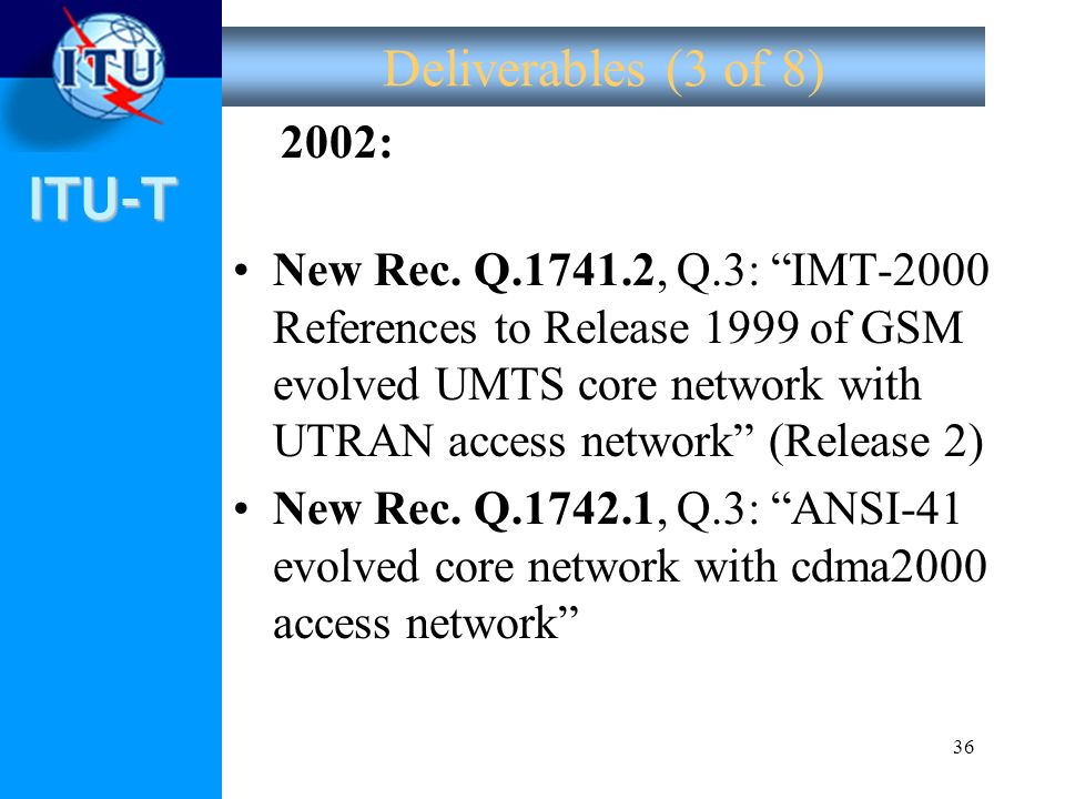 Deliverables (3 of 8) 2002: