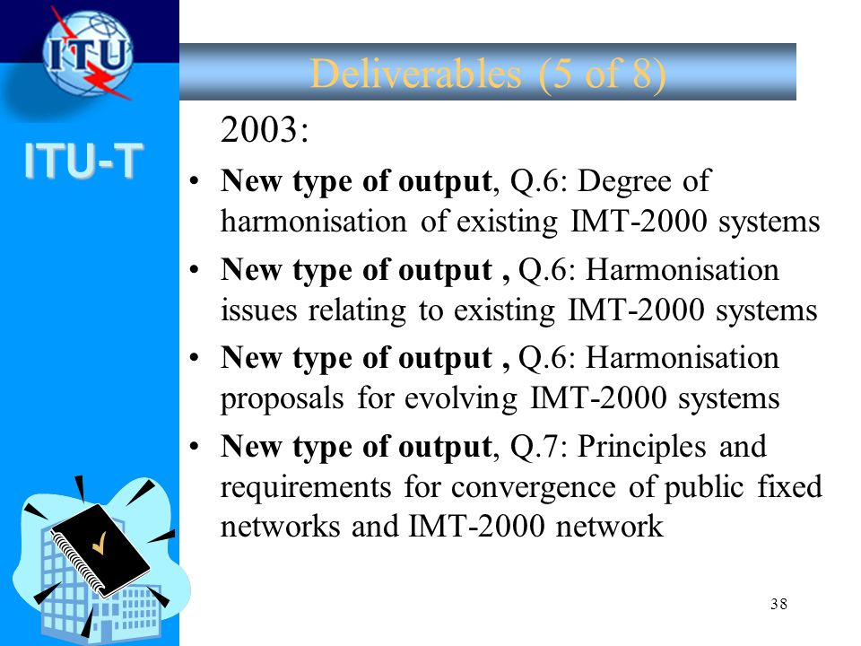 Deliverables (5 of 8) 2003: New type of output, Q.6: Degree of harmonisation of existing IMT-2000 systems.