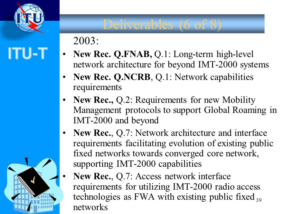 Deliverables (6 of 8) 2003: New Rec. Q.FNAB, Q.1: Long-term high-level network architecture for beyond IMT-2000 systems.