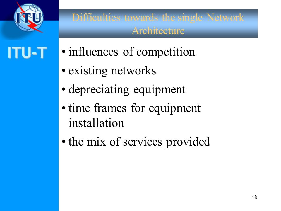 Difficulties towards the single Network Architecture
