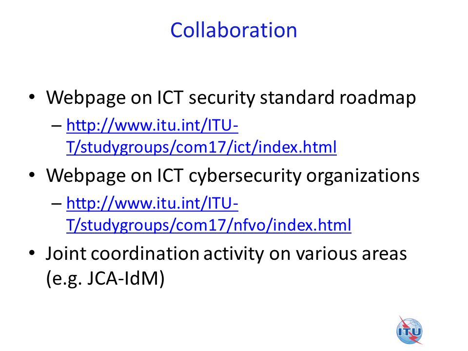 Collaboration Webpage on ICT security standard roadmap