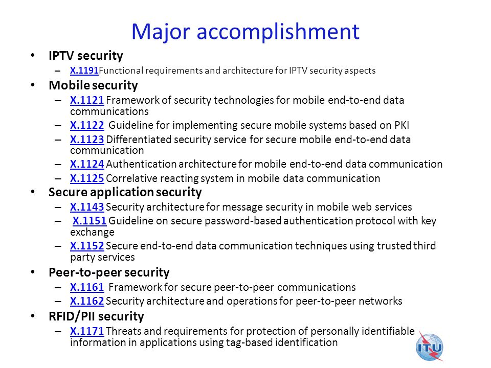 Major accomplishment IPTV security Mobile security