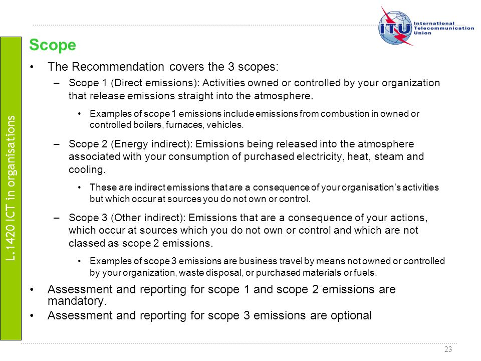Scope The Recommendation covers the 3 scopes: